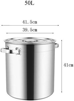 HEAVY Induction-Safe en Acier Inoxydable Marmite avec Couvercle, Marmites de Cuisson Casserole Boiling Pot Profonde Restauration Marmite, 31cm (Size : 41.5 * 41CM)