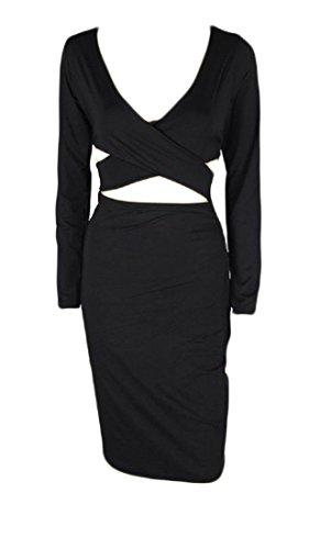 Confortables Femmes V Profond Col Creux Robe De La Hanche Paquet Solide Transversale Moulante Noir