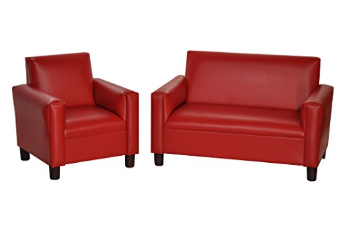 Max Comfort Modern Kids Chair and Sofa Set - Preschool Kids Chair and Sofa Set (Red Vinyl)