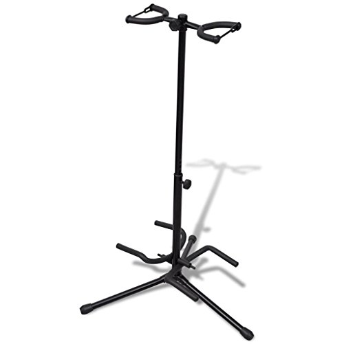 vidaXL Musician's Dual Double Acoustic Electric Guitar Bass Stand Universal Portable