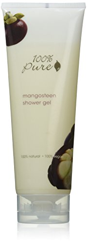 100% PURE Shower Gel, Mangosteen, Sulfate-Free Body Wash, Foaming, Hydrating Body Soap, Organic Body Wash, Gently Cleanses, All Natural Soap, No Artificial Fragrances - 8 Fl Oz