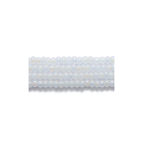 - Preciosa Ornela Czech Seed Bead, Pearl White Aurora Borealis Finish, Size 10/0