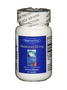 20 Mg 60 Veggie Caps - Allergy Research (Nutricology) - Melatonin 20 Milligram, 60 Veggie Capsules
