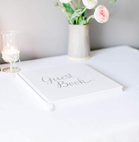 Wedding Guest Book Silver Guestbook - Blank NO Lines - Memory Signature Message Book - Christening Birthday Engagement Party - White Paper Ribbon & Foil Stamping - Thick Paper 32 Page/64 Side Square