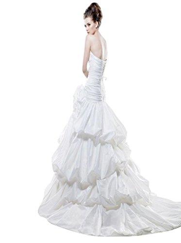 Mit Herz Blumen Rüsche Hof A Kleidungen Damen Taft Linie Dearta Handgemachte Schleppe Ausschnitt Drapiert Weiß q1pzHwgU