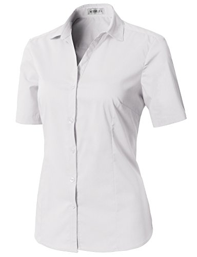 (CLOVERY Women's Tailored Short Sleeve Basic Simple Button-Down Shirt with Plus Size White XL)