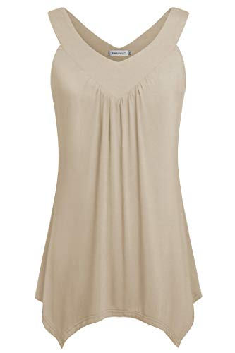 Helloacc Long Tunic White Shirt,Womens Spaghetti Strap Camis V Neck Summer Tanks Flowy Casual Loose Maternity Dress Sleeveless Blouse for Women Elegant Ruched Pleated Comfy Soft Petite Size Beige M - Shell Spaghetti Strap