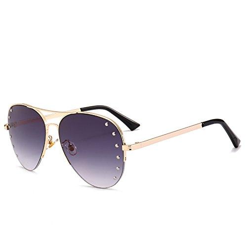 t¨¦ de C3 Cristal de la de de del Oculos Las Del Mujeres Espejo de Marco C1 Manera Sunnies Gafas lunetas Decoraci¨®n Se Pynxn Gris oras Media Oro Metal Las Aviador wWqTOFA4