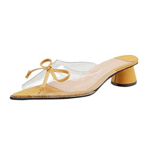 ◕‿◕Watere◕‿◕ Womens Solid Transparent Low Heel Wedge Sandals Peep Toe Slipper Wedding Party Flats Shoes Roman Sandals Yellow