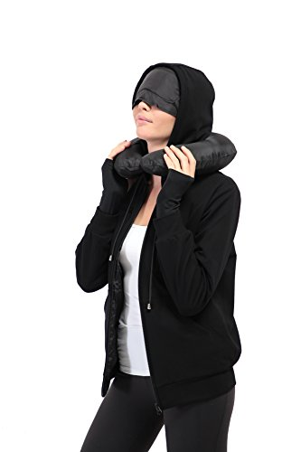 XY37 Women Travel Jacket Hoodie 10 Pockets Travel Pillow Eye Mask Face Mask Gloves (Large, Black)