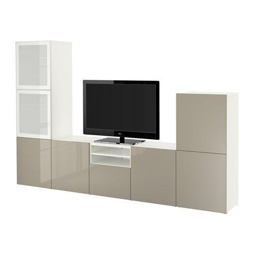 Ikea TV storage combination/glass soft-closing doors, white, Selsviken high gloss/beige frosted glass 14202.262026.146