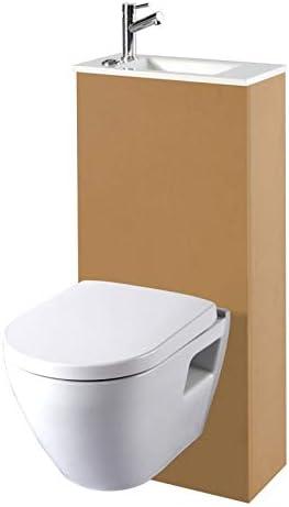 Planetebain Pack de WC suspendido con Inodoro para Ahorrar Espacio y Lava Manos integradas.: Amazon.es: Hogar