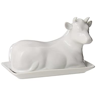 Kitchen Supply 8038 White Porcelain Butter Dish, Cow Shape