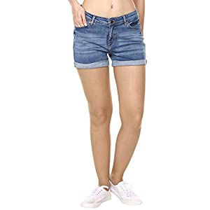 Broadstar Blue Denim Skinny Casual Solid Shorts for Women