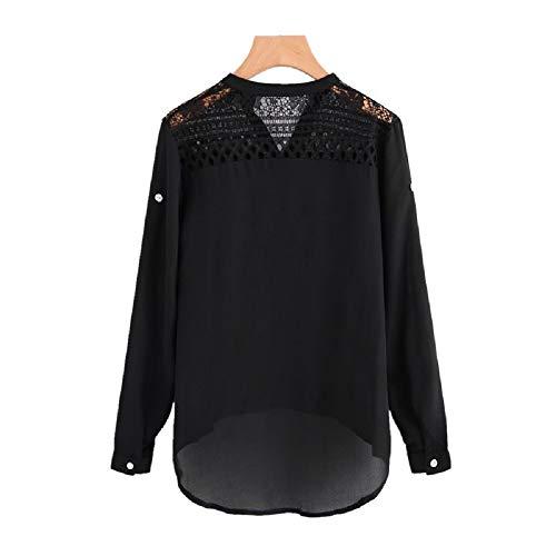 Taille Couleur Soie Chemisier Manches Longues color en Nouveau Pure Noir Rouge L Bouton de Style Mousseline FuweiEncore qxXHSwFP6