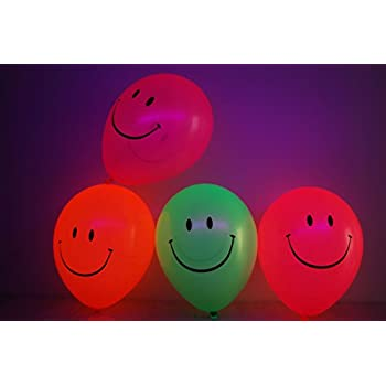 DirectGlow Set of 25 Neon Assorted 11 inch Smiley Face Blacklight Reactive Latex Balloons