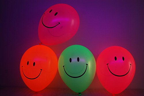 DirectGlow Set of 25 Neon Assorted 11 inch Smiley Face Blacklight Reactive Latex Balloons]()