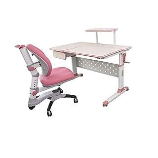 "ApexDesk Little Soleil DX 43"" Children's Height Adjustable Study Desk w/ Integrated Shelf & Drawer (Desk+Chair Bundle in Pink)"