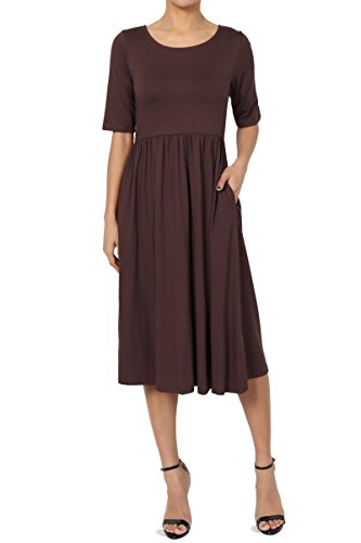 amp; Casual 2 Pleated Empire Fit Pocket Dress Short TheMogan Flare Sleeve Brown 1 Waist Viscose CdHqqSz