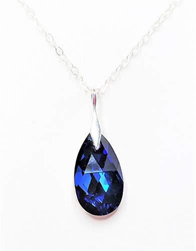 Handmade Capri Blue Swarovski Teardrop Crystal Sterling Silver Pendant by LynnsGemCreation