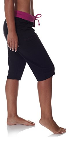 N.Y.L. Women's Workout Capri Yoga Pants With Wide Pockets and Drawstring Elastic Waist Black Tropical Orchid Plus Size 3X Large