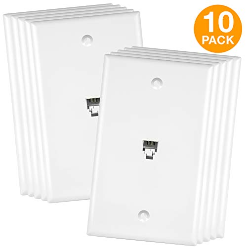 ENERLITES RJ11 Telephone Jack Wall Plate, 6-Position 4-Conductor 6P4C (2 Line Support), 1-Gang 4.50