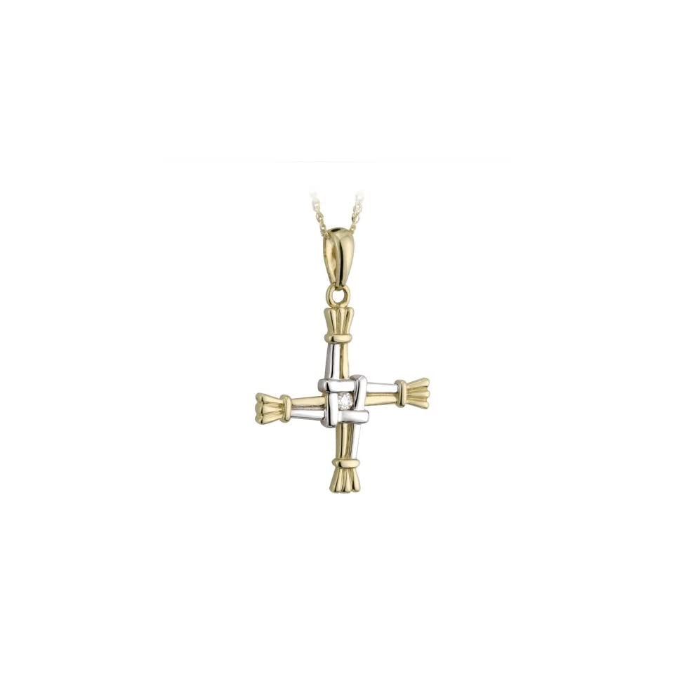 St. Brigids Cross Necklace 14K White & Yellow Gold & Diamond