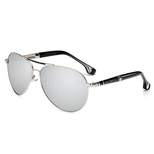 Premium Military Style Classic Aviator Sunglasses, Polarized, 100% UV protection(Silver lens) (Military Sunglasses Aviator Grade)
