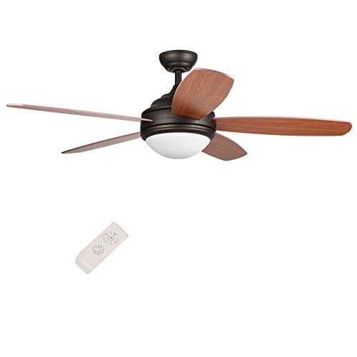 CO-Z 52-Inch Ceiling Fan with Five Cherry/Teak Plywood Blades and Etched Opal Glass 15W LED(3000K) Light Kit, Remote Control Included, UL Certificate, Bronze Finish ()