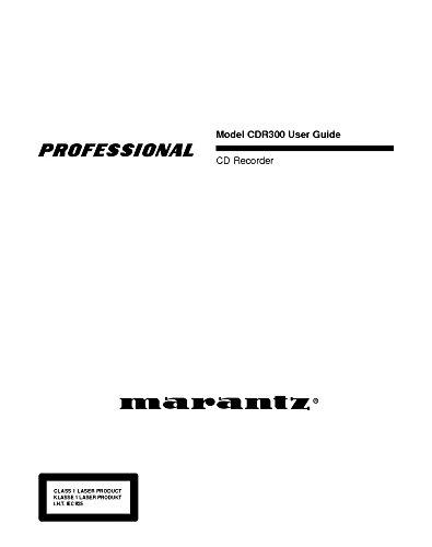 Marantz Cd Recorder (Marantz CDR300 CD Recorder Owners Instruction Manual)