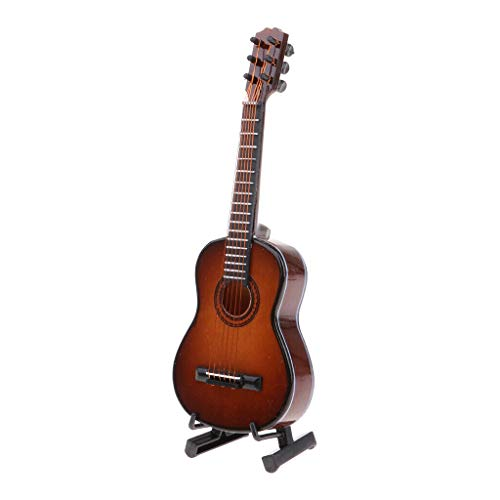 NATFUR 1/8 Wooden Acoustic Guitar Model for Dollhouse Desk Ornament Brown