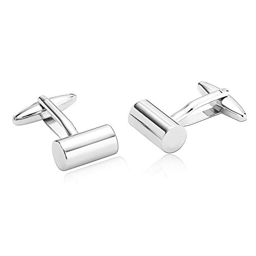 Aooaz Mens Cufflinks Classic Simple Cylindrical Shape Stainless Steel Cufflinks Silver Dad Unique Jewelry Box Fancy Elegant