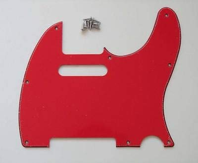 FidgetGear Tele Style Scratch Plate Guitar Pickguard Red 3 Ply Telecaster (Best Telecaster Pickups For Country)
