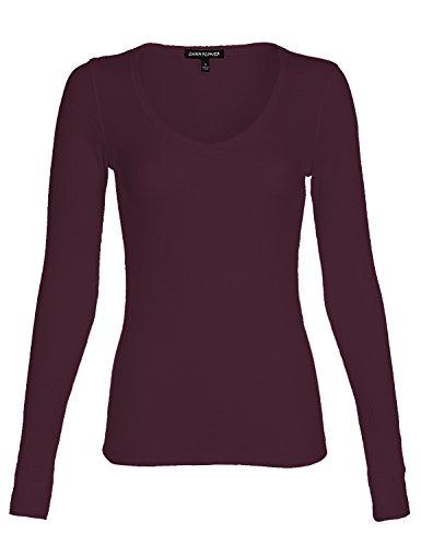 Luna Flower Women's Deep Round V-Neck Thermal Long Sleeve Knit Slim Fit Basic Top Shirts Plum - Shipping Premium Macy's