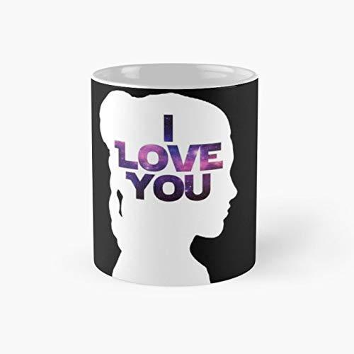 Star Wars Leia 'I Love You' White Silhouette Couple Tee Mug, star wars Cup, 11 Ounce Ceramic Mug, Perfect Novelty Gift Mug, Funny Gift Mugs, Funny Coffee Mug 11oz, Tea Cups 11oz ()
