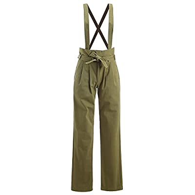 AOMEI Overalls for Women Pants Strappy Rompers Sleeveless Playsuits Cotton Linen Army Green Color