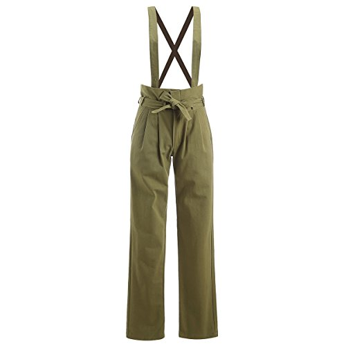 AOMEI Overalls For Women Straight Leg Casual Pants With Pocket Rompers Cotton Linen Army Green Color Size S