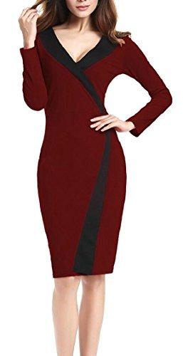 Jaycargogo Cou V Profond Sexy Colorblock Manches Longues Femmes Travail Vin Robe Midi Rouge