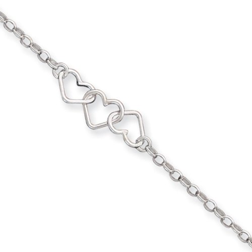 Black Bow Jewelry Sterling Silver interlocking Hearts Anklet, 9 (Interlocking Rings Stations)