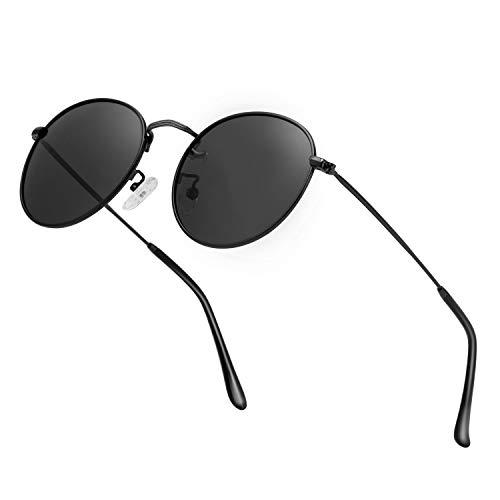 Unisex Round Sunglasses Vintage Retro Polarized Sun Glasses for Men Women Metal Frame Circle Shades