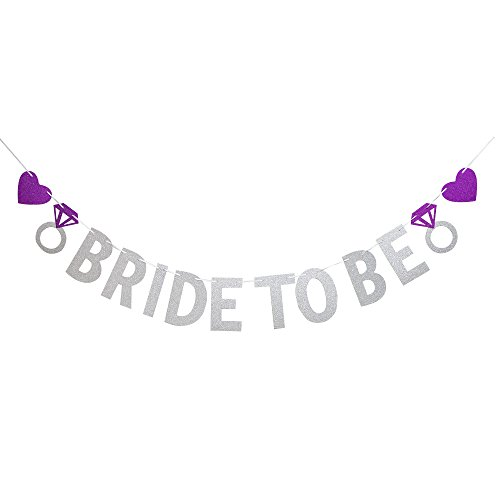 Bride To Be Banner Silver For Wedding Sign Bridal Shower Banner Hen Night Bunting ()