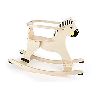 Small Foot Wooden Toys Natural Wooden Rocking Horse with Removable Protective Ring Designed for Children 12+ Months: Toys & Games