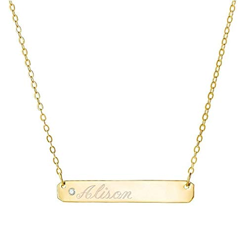 (Diamond accent Necklace, Engravable Silver Bar Necklace 1.25 inch Pendant tiny center name bar in 18k gold plated 925 Sterling Silver)