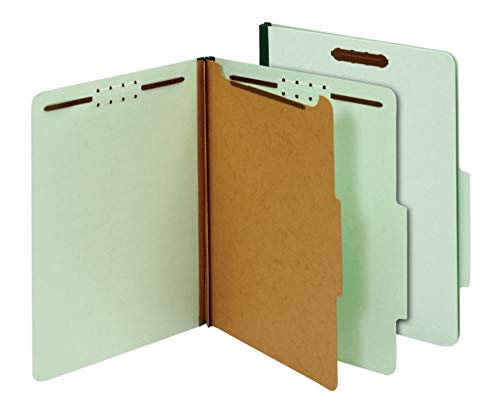 Office Depot 100% Recycled Classification Folders, 1 Divider, 1 3/4in Expansion, Letter Size, Light Green, 10 pk, OD23776R