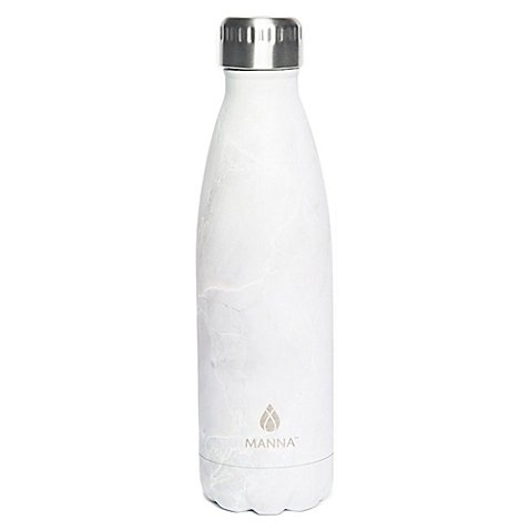 Manna Vogue 17 oz. Stainless Steel Double Wall Water Bottle in White Marble