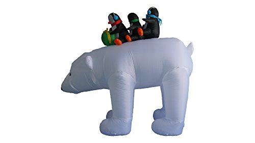 8 foot christmas inflatable 3 penguins on polar bear outdoor yard decoration - Polar Bear Inflatable Christmas Decorations
