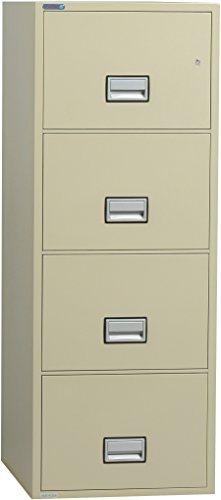 Phoenix Vertical 31 inch 4-Drawer Legal Fireproof File Cabinet - Putty