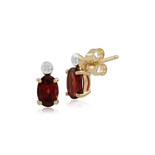 Gemondo Bague en or jaune 9carats Grenat Ovale et diamant Boucles d'oreille à tige et collier de 45cm de