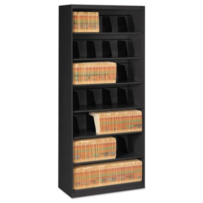 Open Fixed Shelf Lateral File, 36w x 16 1/2d x 87h, Black, Sold as 1 Each