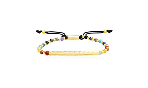 Willowbird Bar and Multi Colored Simulated Gemstone Beaded Adjustable Bracelet for Women in Yellow Gold Plated 925 Sterling ()